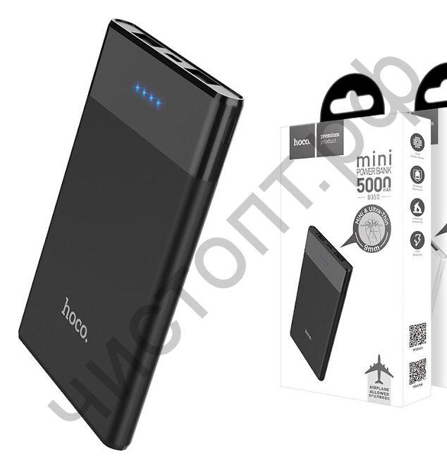 Моб. заряд. устрой. HOCO B35D, Entourage, 5000mAh, пластик, 2 USB выхода, 2.1A, цвет: чёрный Power Bank