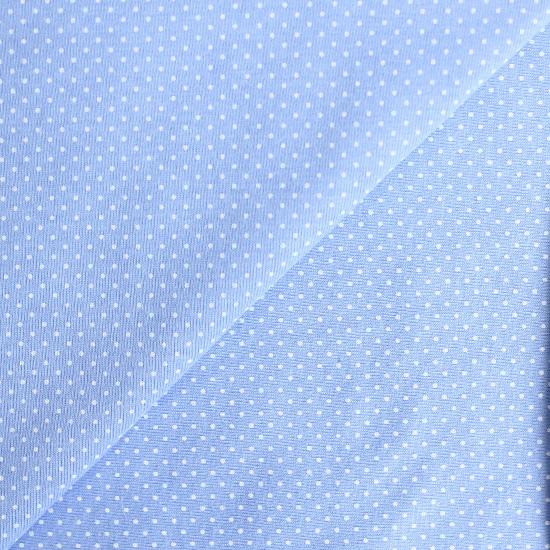Лоскут трикотажной ткани кулирка Горошек на голубом 50х30