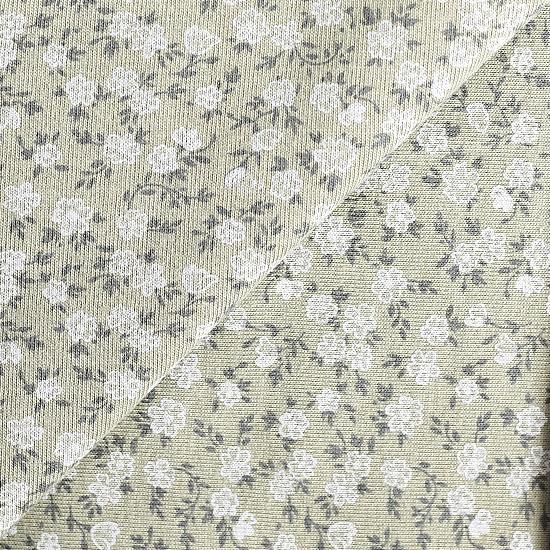 Лоскут трикотажной ткани Цветочки на болотном 50х30