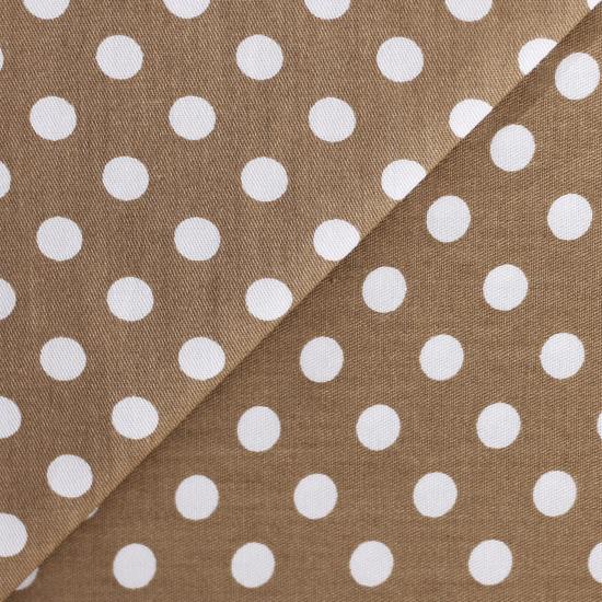 Ткань Хлопок Горошек на коричневом 50x40