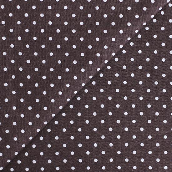 Ткань Хлопок Горошек на темно-коричневом 50x40