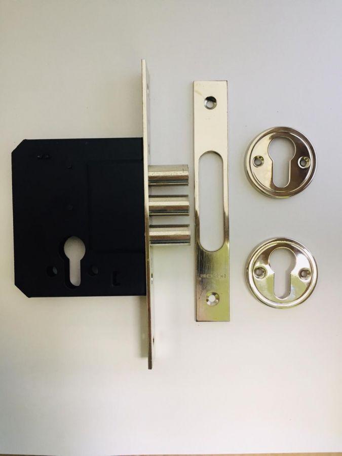 Корпус врезного замка Horsche Н014 ВР, золото, с защитой от распиливания, аналог Апекс 9160.