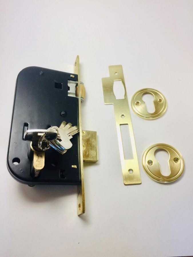 Корпус замка с фиксатором, с цилиндровым механизмом, золото матовое