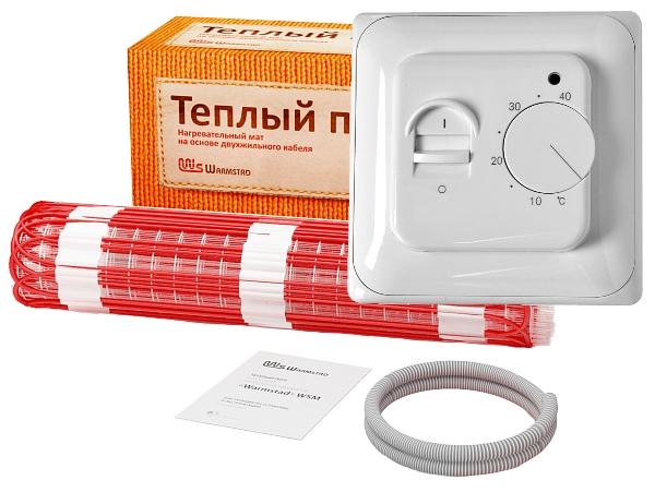 Комплект нагревательный мат Warmstad WSM-100-0.65 с терморегулятором RTC-70.26 (на площадь 0.65 м2)