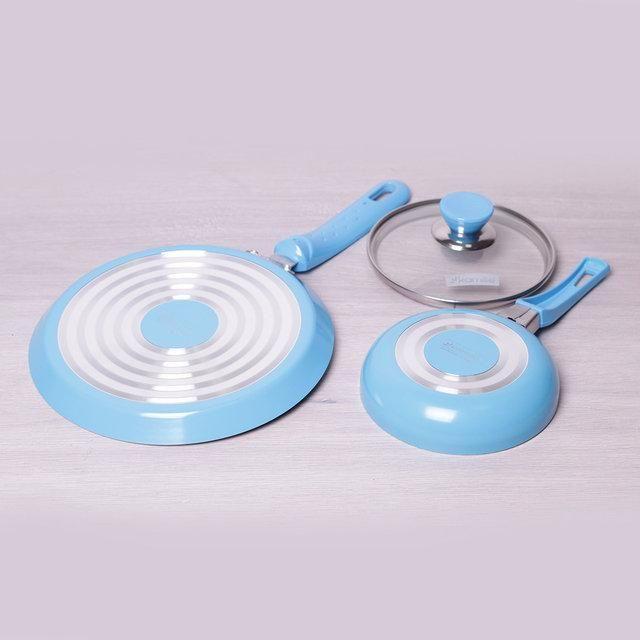 Набор: сковороды блинная D22см, маленькая D14см, алюминий, керам. покрытие Kamille