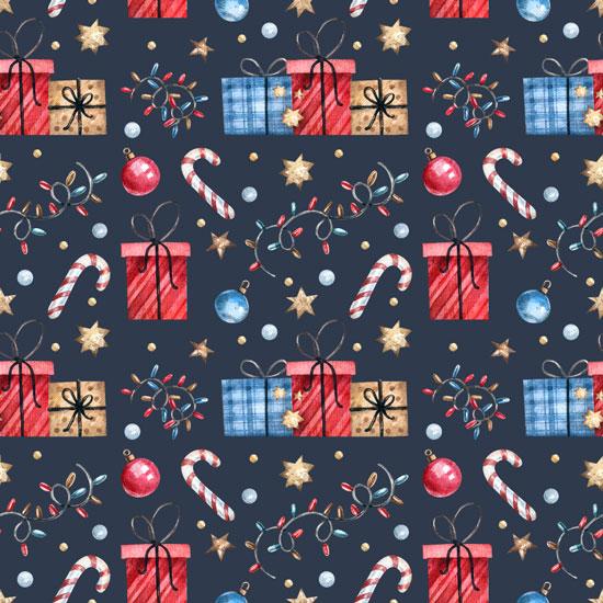 Хлопок Перкаль Новогодние подарки  50х37