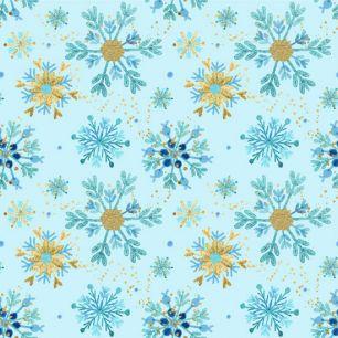 Хлопок Перкаль Снегопад на голубом 50х37