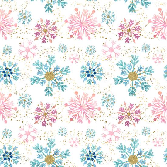 Хлопок Перкаль Розовые снежинки 50х37