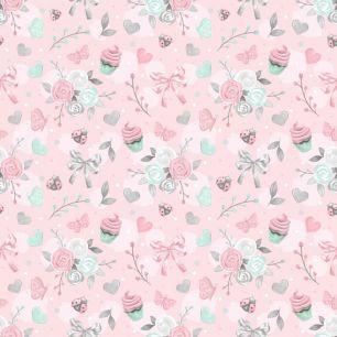 Хлопок Перкаль Розовые букеты 50х37
