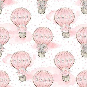 Хлопок Перкаль Слоники на воздушных шарах 50х37
