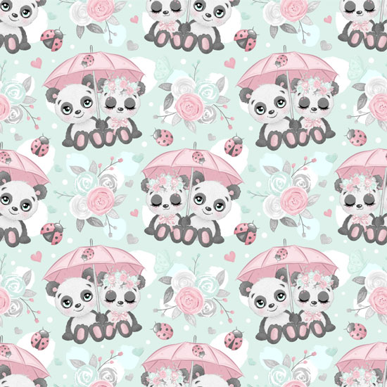 Хлопок Перкаль Влюбленные панды 50х37
