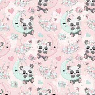 Хлопок Перкаль Сонные панды 50х37