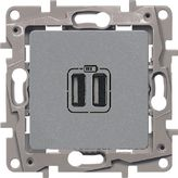Зарядка USB двойная 240В/5В 2400мА - алюминий, Legrand Etika
