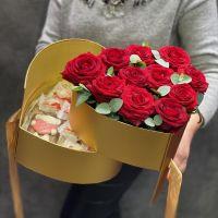 Розы + конфеты в сердце