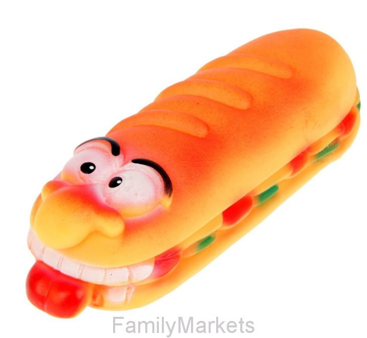 Виниловая игрушка-пищалка для собак Бешеный Сэндвич, 18,5 см