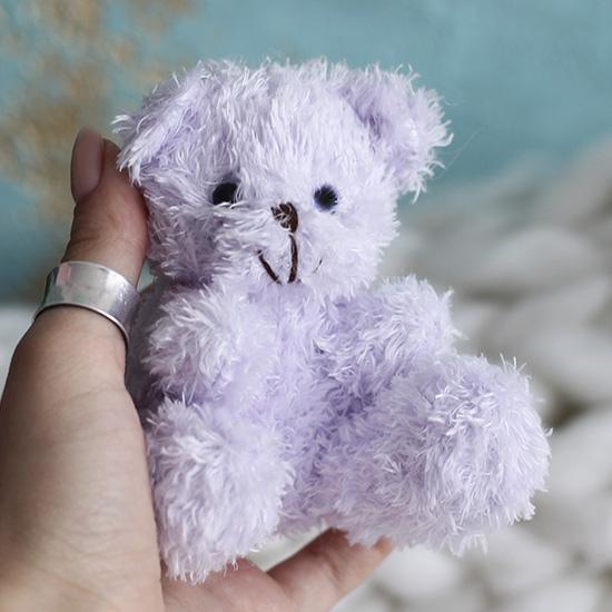 Мишка для куклы сиреневый, 10 см