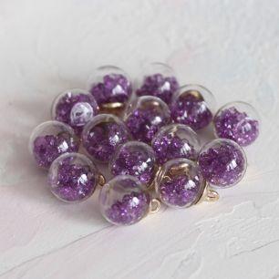 Бусина-подвеска с фиолетовыми стразами