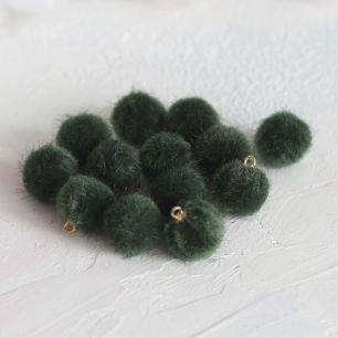 Бусина-подвеска пушистая темно-зеленая