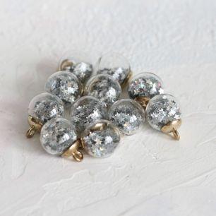Бусина-подвеска с серебряными звездами