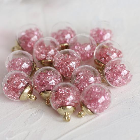 Бусина-подвеска с розовыми стразами