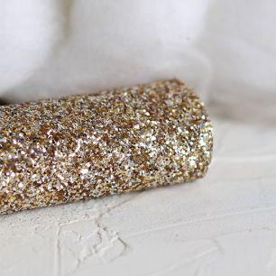 Экокожа для кукольных ботиночек с блестками Золото 30х22