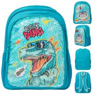 Рюкзак ACTION, размер 40х31х14 см,с двустор.цв.пайетками Акула/Дино, голубой, д/мальчиков