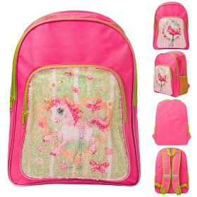 Рюкзак ACTION, разм.41х30х13 см, с двусторонними пайетками Фламинго/Единорог, розовый, д/девочек