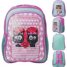 Рюкзак ACTION, размер 40х31х14 см,с двустор.цв.пайетками Кошки, мягкая спинка, д/девочек