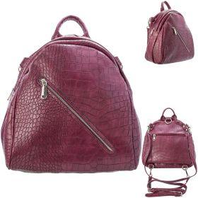 Рюкзак-мини ACTION, молодежный, разм. 26х26х15 см, бордовый, цвет фурнитуры-серебристый, иск. Кожа
