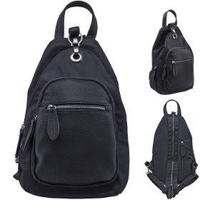 Рюкзак-мини ACTION, молодежный, черный ,фурнитура:-пушечный металл, разм. 33х21х8 см