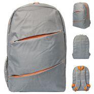 Рюкзак ACTION, разм.42х28х11 см, городской, серый с оранжевыми молниями вставками, мягкая спинка