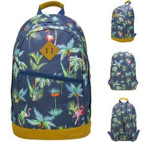 Рюкзак ACTION Пальмы, Фламинго, размер 45х30х10 см, с принтом, мягкая уплотненная спинка, для дев