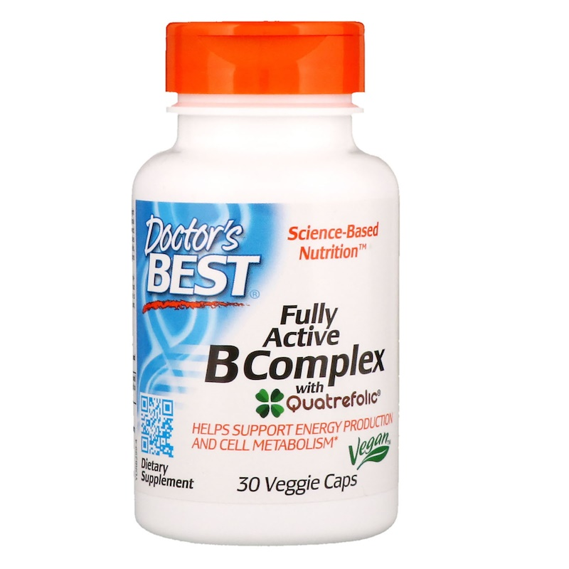 Комплекс активных витаминов B с Quatrefolic, 30 капсул