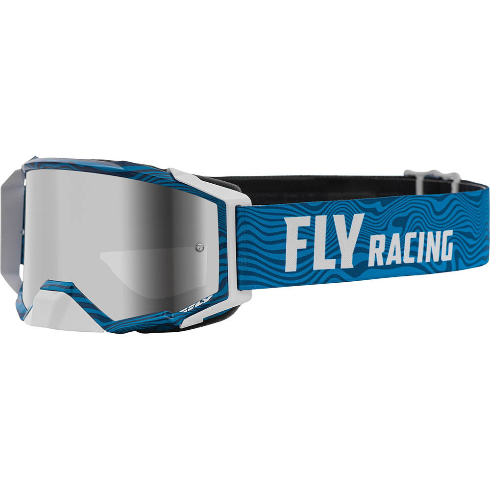 Fly Racing 2021 Zone Pro Blue/White Silver Mirror/Smoke Lens очки для мотокросса