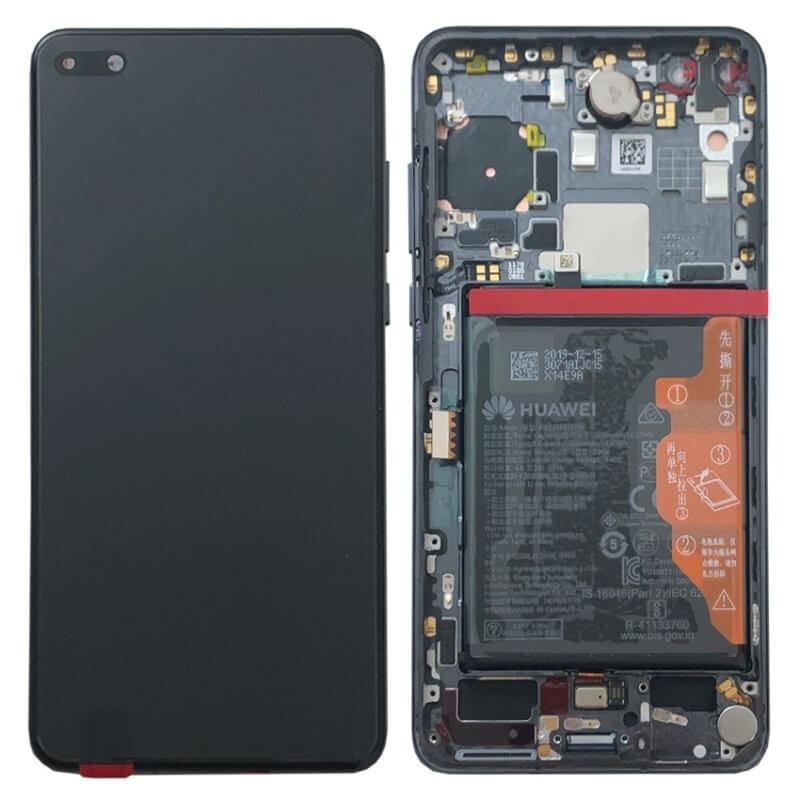 Дисплей в сборе с сенсорным стеклом, корпусом и аккумулятором для Huawei P40 (Original)