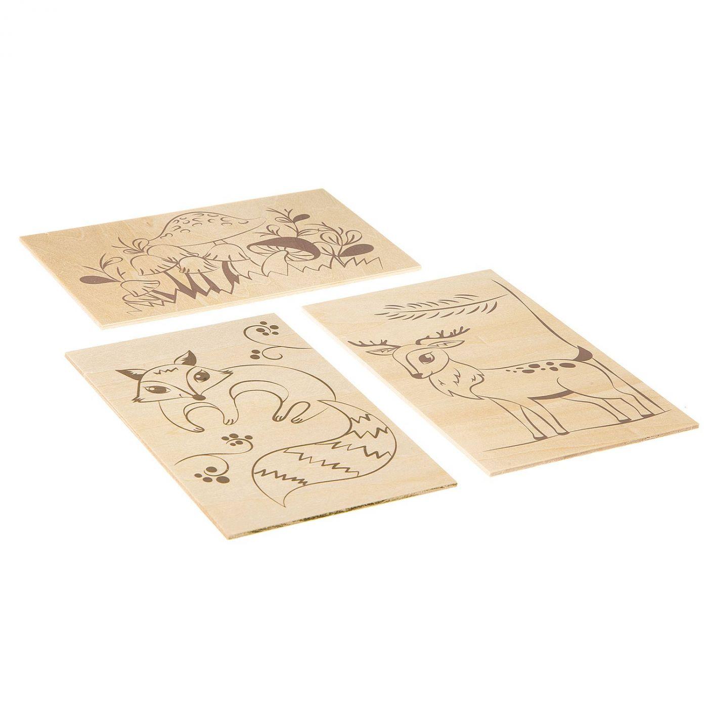 Набор для творчества BONDIBON, основы для выжигания, В лесу, 11, 5Х18, 5 см. , 3 шт
