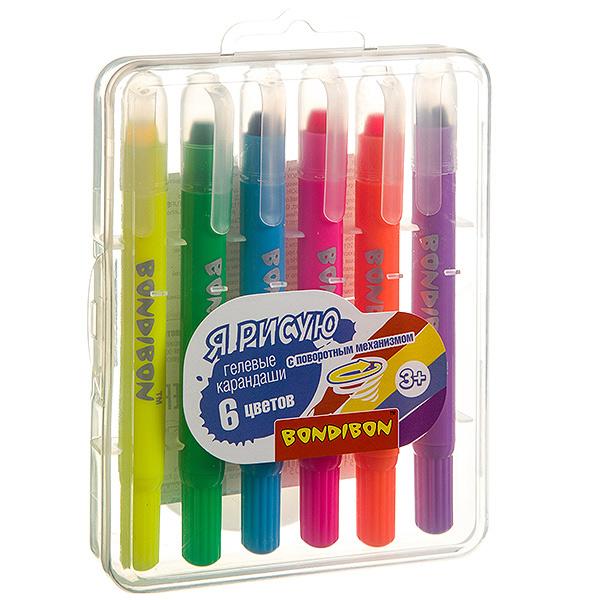 Набор гелевых карандашей для рисования Bondibon 6 цветов, в пластиковой коробке, ВОХ 13, 8х10, 5х2, 1см