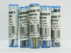 Мини-сверло, HSS M35, титановое покрытие, d 0,3 мм, 10 шт.