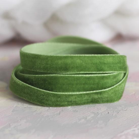 Лента бархатная  10 мм Зеленая