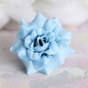 Цветок тканевый Розочка голубая 4.5 см