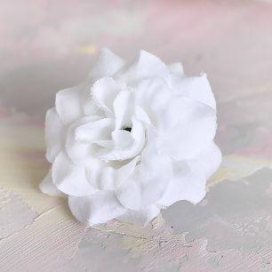 Цветок тканевый Розочка белая 4.5 см