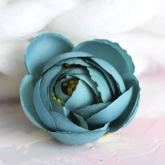 Цветок тканевый Пион темно-бирюзовый 4.5 см