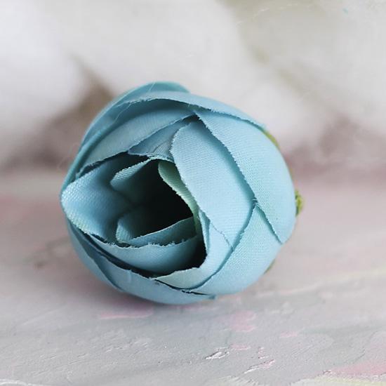 Цветок тканевый Лотос бирюзовый 2.5 см