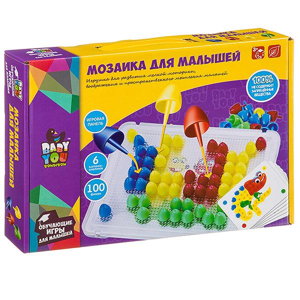 Мозаика для малышей Bondibon, 6 картинок-шаблонов, 100 фишек, BOX
