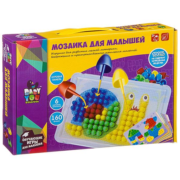 Мозаика для малышей Bondibon, 6 картинок-шаблонов, 160 фишек, BOX