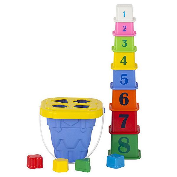 """Логический набор """"Башня"""" (ведро """"Башня"""" с крышкой, 4 логические фигуры, пирамида """"Башня ( 8 элементов)"""