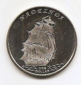 """Фрегат """"Надежда"""" 1 доллар Острова Гилберта 2015"""