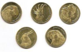 Птицы (Попугаи) набор монет  5 шиллингов Сомалилэнд 2020 (5 монет)