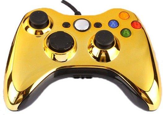 Джойстик (геймпад) проводной для Xbox 360 и PC Золото Хром