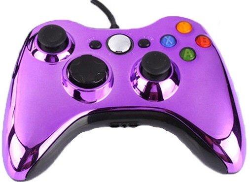 Джойстик (геймпад) проводной для Xbox 360 и PC Фиолетовый Хром